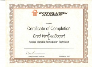 Mold Remediation Certificate.